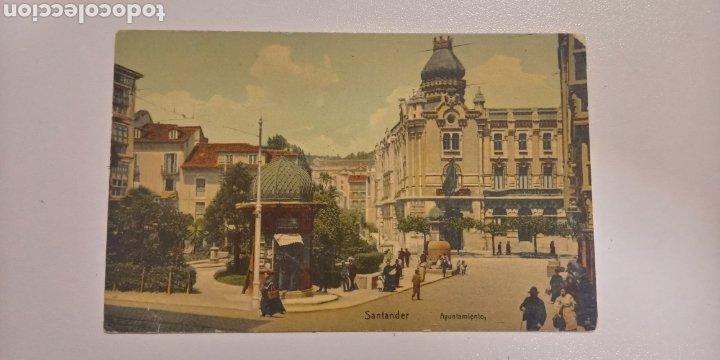 POSTAL SANTANDER AYUNTAMIENTO. COLOREADA Y FECHADA EN 1912. (Postales - España - Cantabria Antigua (hasta 1.939))