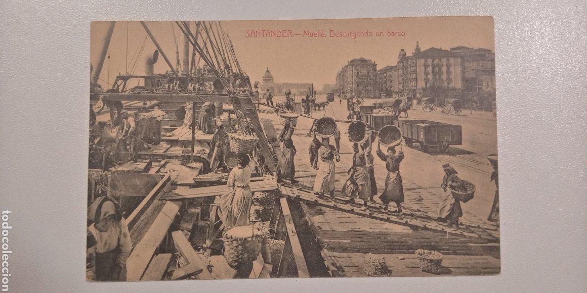 Postales: Lote 2 Postales Santander Alameda 2° Burreras y Muelle. Descargando un barco - Foto 4 - 197774962