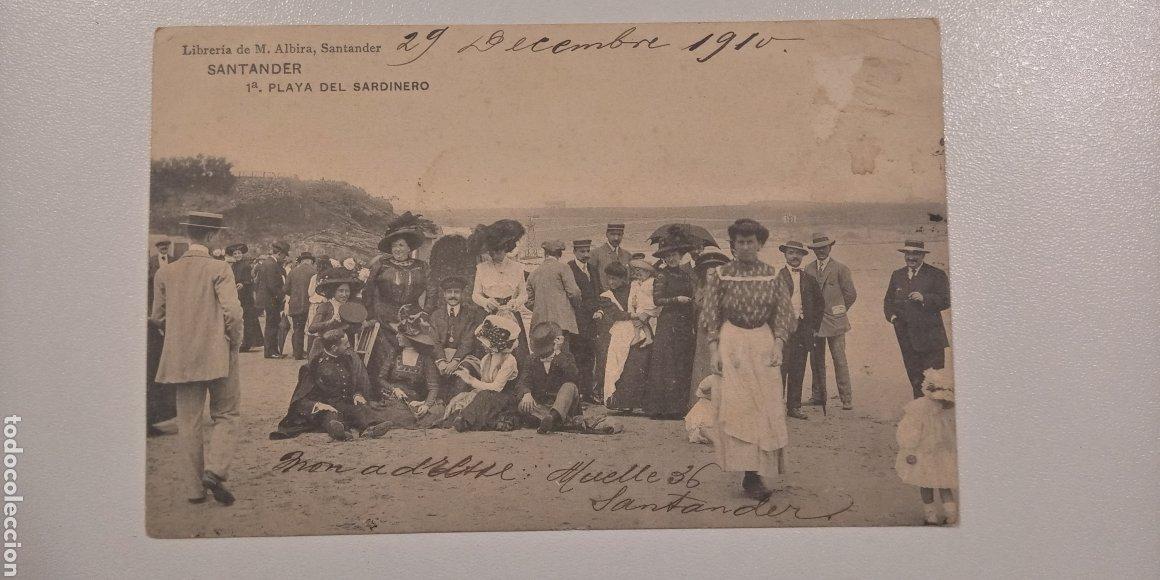 POSTAL SANTANDER PLAYA DEL SARDINERO ESCRITA Y MATASELLADA EN 1910 (Postales - España - Cantabria Antigua (hasta 1.939))