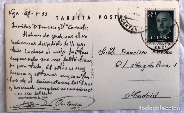 Postales: TARJETA POSTAL NOJA. CANTABRIA. VISTA PARCIAL DE LA COSTA. CASA SOLAR. AÑO 1955 - Foto 2 - 199695998