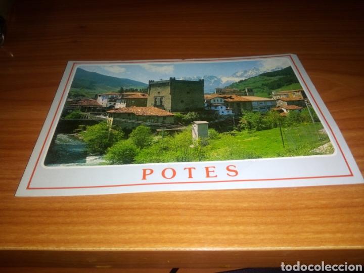 ANTIGUA POSTAL POTES (CANTABRIA). PICOS DE EUROPA SELLO PUBLICIDAD POR DETRÁS DEL RESTAURANTE MARTÍN (Postales - España - Cantabria Moderna (desde 1.940))