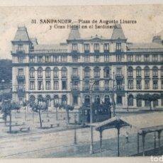 Cartes Postales: TARJETA POSTAL SANTANDER - PLAZA AUGUSTO LINARES Y GRAN HOTEL EN EL SARDINERO 31. - CANTABRIA. Lote 200355180