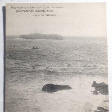 Postales: SANTANDER - SARDINERO. ISLA DE MOURO. PROPIEDAD DE LA LIBRERIA GENERAL, SANTANDER. CIRCA: 1909. Lote 204096585