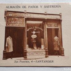 Postales: SANTANDER. ALMACÉN DE PAÑOS Y SASTRERÍA MANUEL GARAYO. SAN FRANCISCO, 4. Lote 204150698