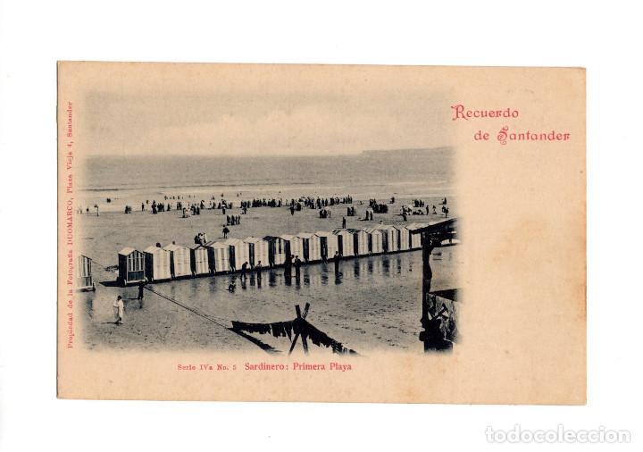 SANTANDER.(CANTABRIA).- RECUERDO DE SANTANDER, SARDINERO: PRIMERA PLAYA, SERIE IVª Nº 5, DUOMARCO (Postales - España - Cantabria Antigua (hasta 1.939))
