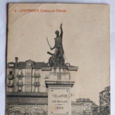 Postales: 9 - SANTANDER. ESTATUA DE VELARDE. FOTOTIPIA THOMAS. BARCELONA. CIRCULADA EN 1916. Lote 206544245