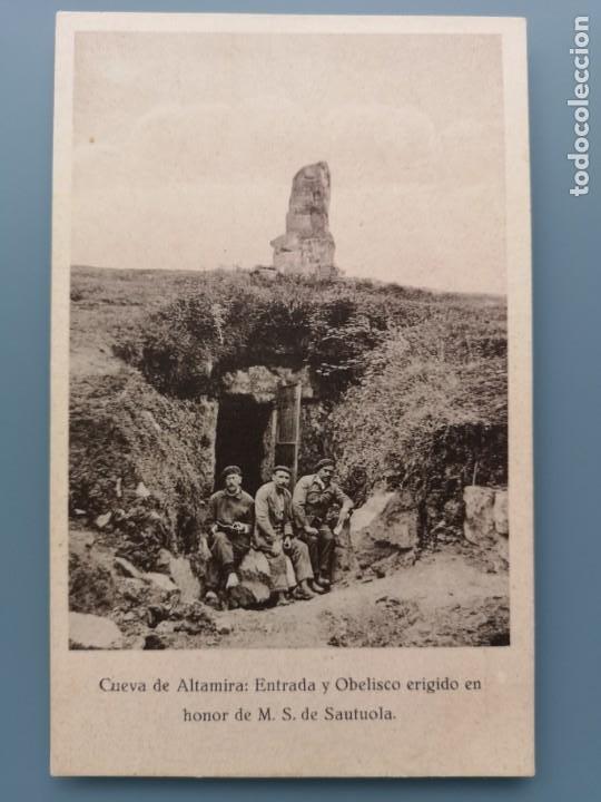 POSTAL CANTABRIA CUEVA DE ALTAMIRA ENTRADA Y OBELISCO EN HONOR DE SANTUOLA SANTANDER PERFECTA CONSER (Postales - España - Cantabria Antigua (hasta 1.939))