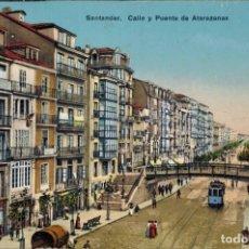 Postales: SANTANDER, CANTABRIA. CALLE Y PUERTO DE ATARAZANAS. ED. L.G BILBAO, SIN CIRCULAR.. Lote 210444843