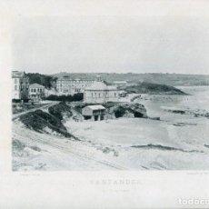 Postales: LÁMINA-SANTANDER EL SARDINERO-HAUSER Y MENET- 24X30 AÑO 1891- RARA. Lote 210623623