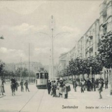 Postales: SANTANDER, CANTABRIA. DETALLE DEL BOULEVARD. Lote 212310626