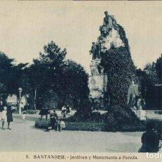Postales: SANTANDER. Nº 5, JARDINES Y MONUMENTO A PAREDA. HELIOTIPIA ARTÍSTICA ESPAÑOLA.. Lote 213744212