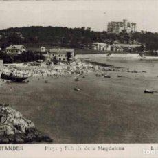 Postales: SANTANDER. Nº 138, PLAYA Y PALACIO DE LA MAGDALENA. FOTOFRÁFICA L.ROISIN. CIRCULADA 1952. Lote 213744401