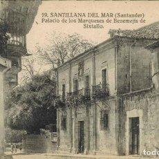 Postales: SANTILLANA DEL MAR, CANTABRIA. Nº 19, PALACIO DE LOS MARQUESES DE BENEMEJÍS DE SIXTALLO. FOTO MONTES. Lote 213744683