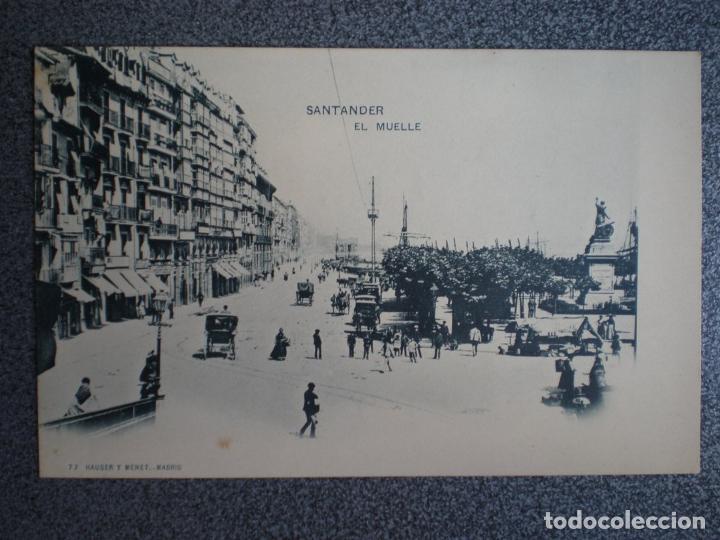 CANTABRIA SANTANDER EL MUELLE HAUSER 77 POSTAL ANTIGUA (Postales - España - Cantabria Antigua (hasta 1.939))