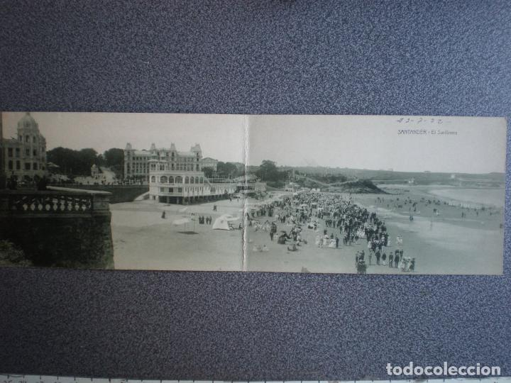 CANTABRIA SANTANDER EL SARDINERO RARA POSTAL DOBLE ANTIGUA A?O 1922 (Postales - España - Cantabria Antigua (hasta 1.939))