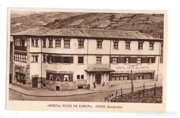 TARJETA POSTAL HOSTAL PICOS DE EUROPA. POTES, SANTANDER. HUECOGRABADO RIEUSSET (Postales - España - Cantabria Moderna (desde 1.940))