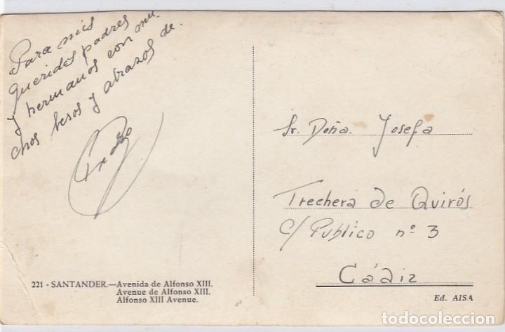 Postales: Santander. Avenida de Alfonso XIII. Ed. AISA. Nº 221. Postál escrita. - Foto 2 - 221148752