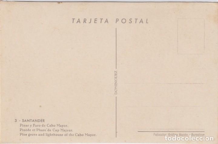 Postales: Santander. Pinar y faro de cabo mayor. Ed. Dominguez. Nº 3. Postál sin circular. - Foto 2 - 221148993