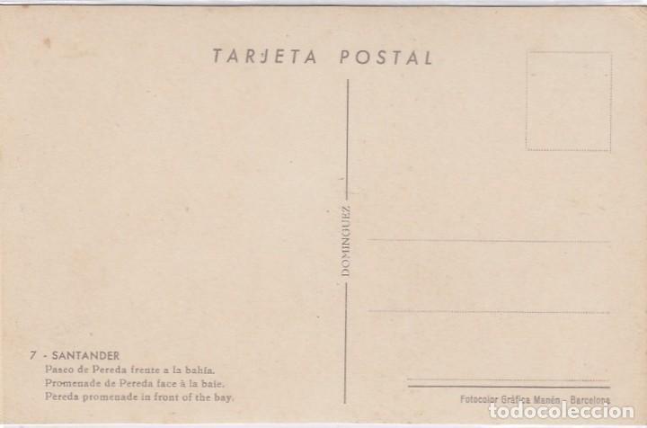 Postales: Santander. Paseo de Pereda frente a la bahia. Ed. Dominguez. Nº 7. Postál sin circular. - Foto 2 - 221149176