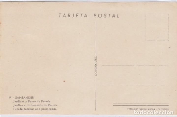 Postales: Santander. Jardines y paseo de Pereda. Ed. Dominguez. Nº 9. Postál sin circular. - Foto 2 - 221150066