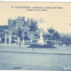 Postales: SANTANDER. SARDINERO. CHALET DEL PINAR Y PASEO DE LA CAÑÍA.. Lote 221370082