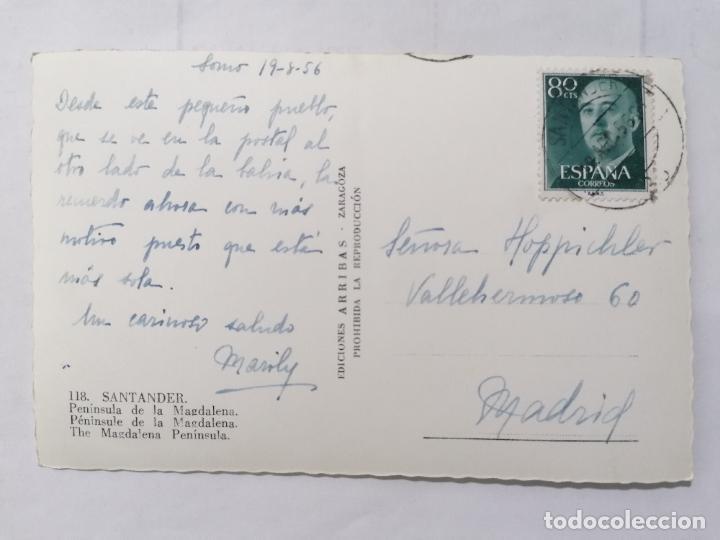 Postales: POSTAL SANTANDER, PENINSULA DE LA MAGDALENA,, AÑOS 50 - Foto 2 - 221970923