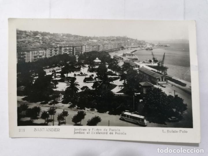 POSTAL SANTANDER, JARDINES Y PASEO DE PEREDA,, AÑOS 50, FOTOS L, ROISIN (Postales - España - Cantabria Moderna (desde 1.940))