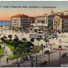 Postales: BONITA POSTAL PASEO DE AMÓS ESCALANTE Y AYUNTAMIENTO, SANTANDER. CASTAÑEIRA ÁLVAREZ LEVENFEID 20S AA. Lote 223119881