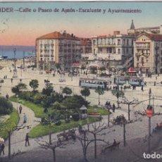 Postales: SANTANDER (CANTABRIA) - CALLE O PASEO DE AMOS - ESCALANTE Y AYUNTAMIENTO. Lote 224660523