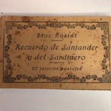 Postales: RARO BLOC POSTAL (RECUERDO DE SANTANDER Y DEL SARDINERO)20 POSTALES AÑOS 20 PRIMERA EDICIÓN ORIGINAL. Lote 225511855