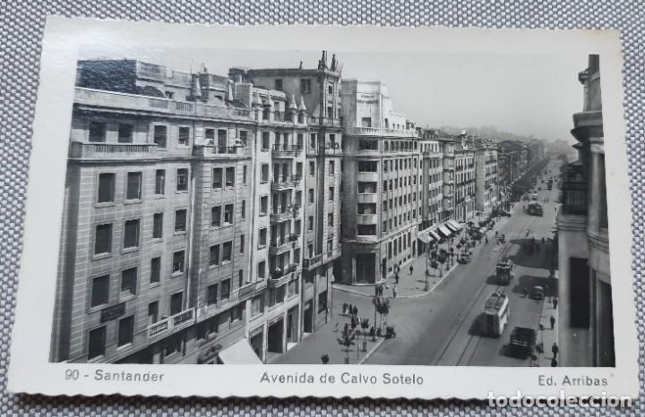 POSTAL SANTANDER AVENIDA DE CALVO SOTELO. CIRCULADA 1953. ED ARRIBAS NÚMERO 90 (Postales - España - Cantabria Moderna (desde 1.940))