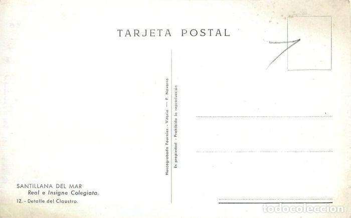 Postales: Cantabria. Santillana del Mar. Colegiata detalle claustro. Edit. Fournier. Sin circular. Muy bien. - Foto 2 - 230321810
