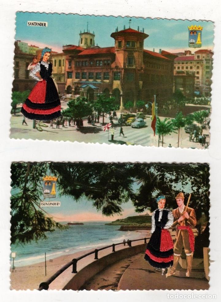 LOTE DE 2 TARJETAS POSTALES SANTANDER. BORDADAS CON HILO. AÑOS 1961 Y 1969 (Postales - España - Cantabria Moderna (desde 1.940))