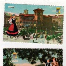 Postales: LOTE DE 2 TARJETAS POSTALES SANTANDER. BORDADAS CON HILO. AÑOS 1961 Y 1969. Lote 239421415