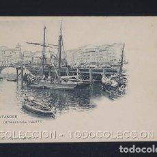 Cartes Postales: POSTAL CANTABRIA SANTANDER DETALLE DEL PUERTO - 148 HAUSER Y MENET . CA 1900. Lote 243025435