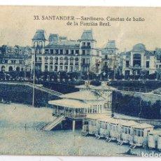 Postales: POSTAL SANTANDER 1930 PLAYA DEL SARDINERO Y CASETAS DE BAÑO DE LA FAMILIA REAL. Lote 245389005