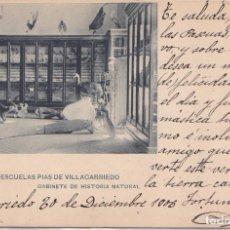 Postales: VILLACARRIEDO (CANTABRIA) - COLEGIO DE LAS ESCUELAS PIAS - GABINETE DE HISTORIA NATURAL. Lote 252086785