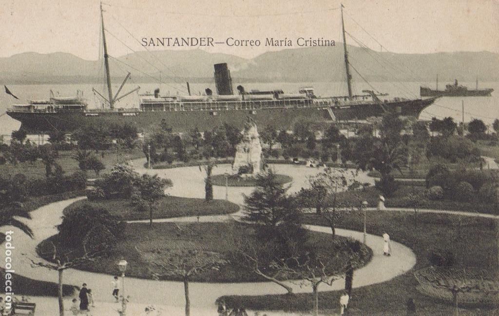 SANTANDER, CORREO MARIA CRISTINA. ED. V. POBLADOR. SIN CIRCULAR (Postales - España - Cantabria Antigua (hasta 1.939))