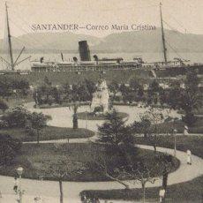 Postales: SANTANDER, CORREO MARIA CRISTINA. ED. V. POBLADOR. SIN CIRCULAR. Lote 253919380