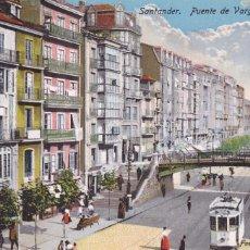 Cartes Postales: SANTANDER, PUENTE VARGAS Y LA RIBERA. ED. CASA FUERTES. BYN COLOREADA. SIN CIRCULAR. Lote 258760955