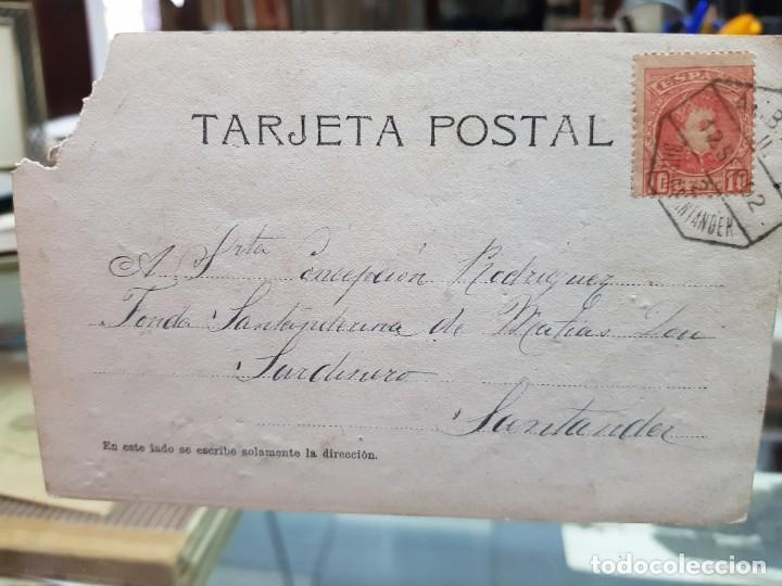 Postales: ANTIGUA FOTOGRAFIA CARROZA BATALLA FLORES POSIBLEMENTE LAREDO SANTANDER CANTABRIA 1902 - Foto 2 - 260088405