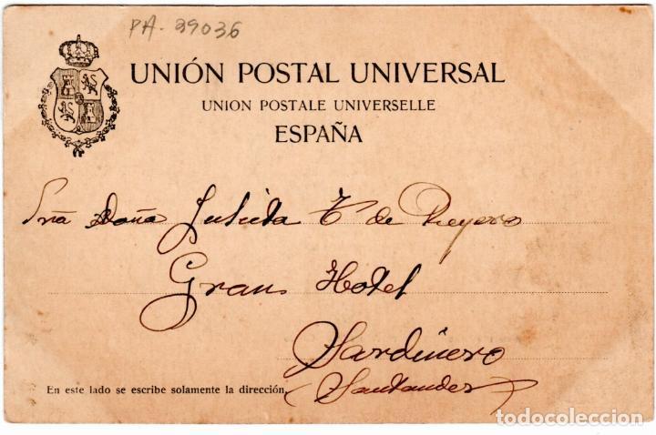 Postales: PRECIOSA POSTAL - RECUERDO DE SANTANDER - FOTO DUOMARCO - SERIE IVa-Nº.2-SARDINERO: ALAMEDA DE CACHO - Foto 2 - 276579748