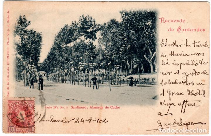 PRECIOSA POSTAL - RECUERDO DE SANTANDER - FOTO DUOMARCO - SERIE IVA-Nº.2-SARDINERO: ALAMEDA DE CACHO (Postales - España - Cantabria Antigua (hasta 1.939))