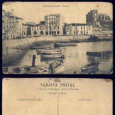 Cartes Postales: 1160 - ESPAÑA CANTABRIA CASTRO URDIALES / DARSENA / RAMBLA / BOTES - POSTAL 1920'. Lote 277166408