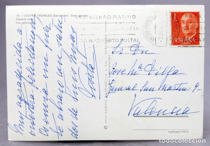 Postales: Postal Castro Urdiales Vista general Ediciones García Garrabella circulada sello años 60 - Foto 2 - 288686893