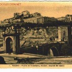 Postales: POSTAL DE TOLEDO. PUENTE DE ALCANTARA Y ALCAZAR, DESPUES DEL ASEDIO... Lote 533092