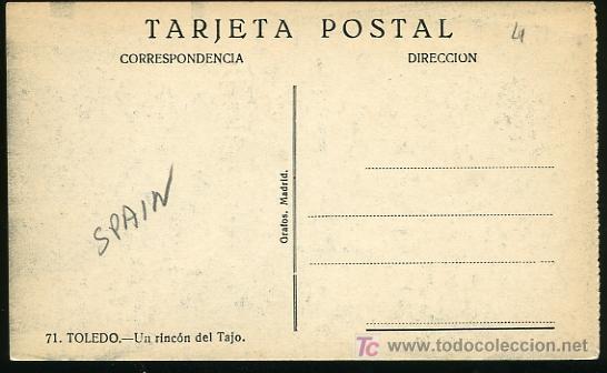 Postales: TARJETA POSTAL DE TOLEDO Nº 71 - UN RICON DEL TAJO,GRAFOS,MADRID - Foto 2 - 5024098