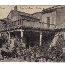 Postales: TOLEDO - CASA DEL GRECO. JARDIN. Lote 4034053