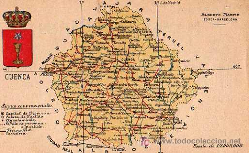 Mapa Provincia De Cuenca España.Cuenca Alberto Martin Editor Barcelona Mapa Provincia