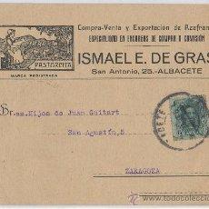 Postales: TARJETA POSTAL PUBLICIDAD CIRCULADA DE AZAFRAN PASTORCITA ISMAEL E. DE GRAS ALBACETE ESPECIAS. Lote 26632141